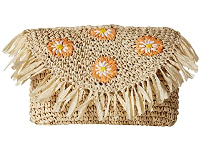 San Diego Hat Company BSB1737 Crochet Paper Daisy Clutch (Natural) Handbags