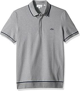 Lacoste Men's S/S Print Mini Pique Stretch Shirt, Silver Chine/Navy Blue, S