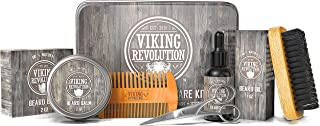 Viking Revolution Beard Care Kit for Men - Ultimate Beard Grooming Kit includes 100% Boar Men's Beard Brush, Wooden Beard ...