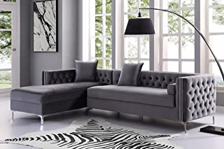 Inspired Home Grey Chaise Sectional Sofa - Design: Giovanni   115