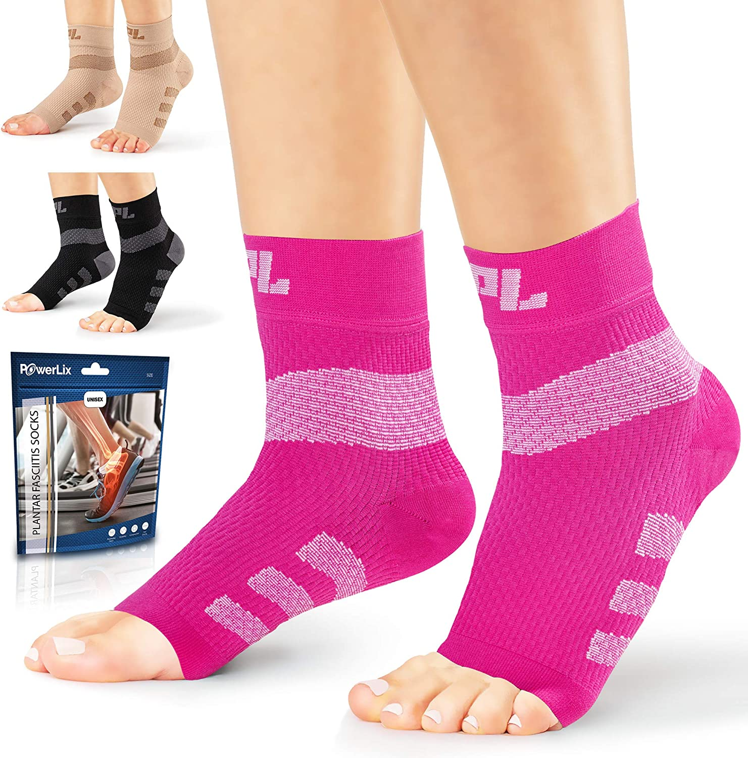 Powerlix Nano Socks for Neuropathy (Pair) for Women & Men, Ankle Brace Support, Plantar Fasciitis Socks, Toeless Compression Socks & Foot Sleeve for Arch & Heel Pain Relief - Treatment & Everyday Use : Health & Household