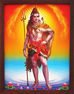 Handicraft Store Shiva Standing on Himalayas with Holy Shivling, A Poster Painting with Frame for Hindu Religious Worship Purpose