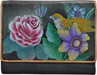 Anuschka Women's Hand Painted RFID Blocking Small Flap French Wallet