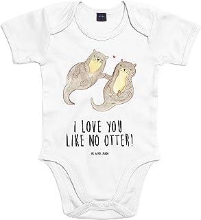 Mr. & Mrs. Panda Mr. & Mrs. Panda Strampler, Jungen, 6-12 Monate Baby Body Otter händchenhaltend mit Spruch - Farbe Transparent