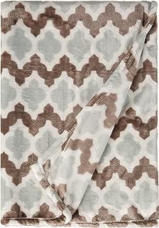 Northpoint Ruya Oversized Printed Velvet Plush Throw Blanket, 50 x 70, Trellis