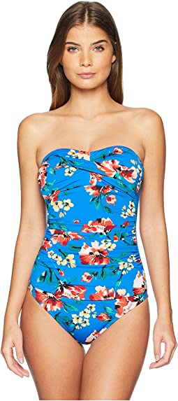 Havana Floral Twist Bandeau Underwire Mio One-Piece Swimsuit