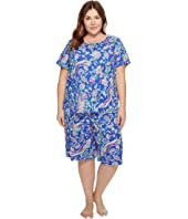 LAUREN Ralph Lauren - Plus Size Short Sleeve Bermuda PJ Set