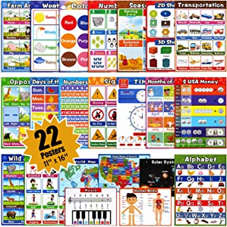 Large Educational Preschool Posters for Kids Toddlers, Laminated Early Learning Charts Set with Tape for Nursery Homeschoo...