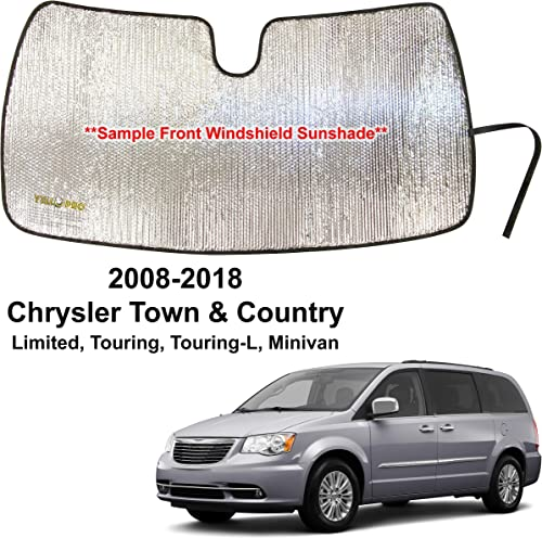 discount YelloPro Custom outlet sale Fit Automotive Reflective Front Windshield Sunshade Accessories for 2008 2009 2010 2011 online 2012 2013 2014 2015 2016 2017 2018 Chrysler Town & Country Limited, Touring, Touring-L Minivan online sale