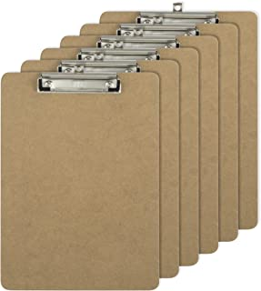 Officemate Letter Size Wood Clipboards, Low Profile Clip, 6 Pack Clipboard, Brown (83806)