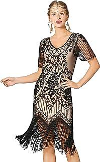 6fd1b1c07d Metme Women s Roaring 1920s Gatsby Dresses Short Sleeve Dress Cocktail  Flapper Dress