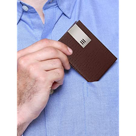 Trajectory Brown Handcrafted Leather and Stainless Steel Design Visiting,Debit and Credit Card Holder(6 Months Warranty)