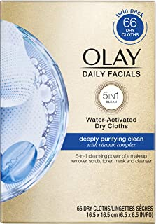Olay Daily Facials, Deeply Purifying Clean, 5-in-1 Cleansing Wipes with Power of a Makeup Remover, Scrub, Toner, Mask and ...