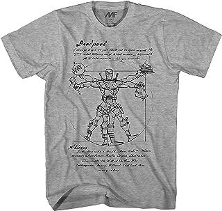 Vitruvian Deadpool Mens Red T-Shirt