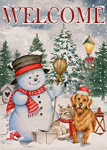 Covido Home Decorative Welcome Christmas Snowman Garden Flag, House Yard Xmas Pine Tree Gifts Dog Cat Outside Decoration, Winter Holiday Puppy Kitty Outdoor Small Burlap Flag Decor Double Sided 12x18
