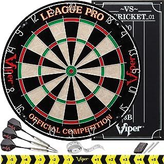 Viper League Pro Regulation Bristle Steel Tip Dartboard Starter Set with Staple-Free..