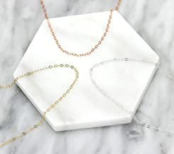 Delicate Thin Plain Chain Necklace, Simple Layering Jewelry 14K Gold Filled, 925 Sterling Silver, 14K Rose Gold Filled, Choose Your Length