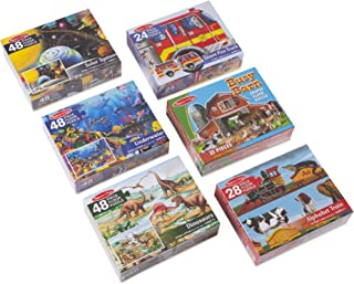 Melissa & Doug 49 Piece Floor Puzzle Includes Solar System, Underwater, Dinosaurs, Fire Truck, Alphabet Express, Busy Barn (6 Pack)