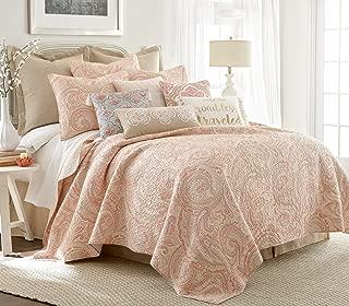 Levtex Alden Coral Full/Queen Cotton Quilt Set, Coral, Paisley