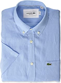 Lacoste Men's S/S Reg Fit Solid Button Down Linen