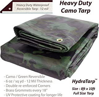 Heavy Duty Waterproof Camo Tarp - Reversible Camouflage/Green Tarp - 8x10 with UV Protection for Outdoor Camping RV Truck and Trailers