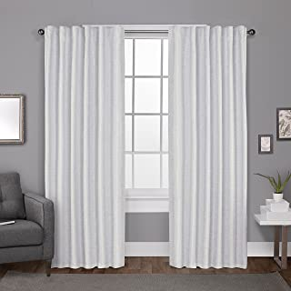 Exclusive Home Curtains Zeus Solid Textured Jacquard Blackout Window Curtain Panel Pair with Back Tab Top, 52x96, Winter W...