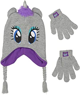My Little Pony Unicorn Girls Beanie Winter Hat and Gloves Cold Weather Set, Age 4-7