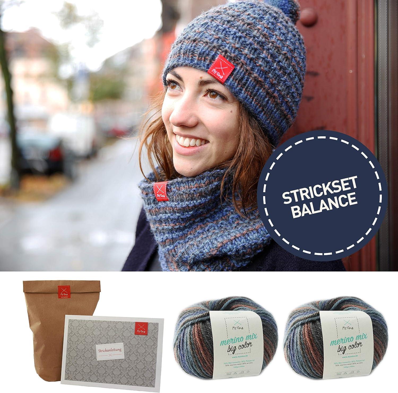 Strickpaket Loop wollwei/ß MyOma Strickset DIY Rundschal Maschentraum Strickpackung mit leicht verst/ändlicher Strickanleitung und 5 Kn/äuel Wolle