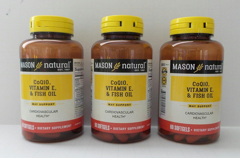 Mason Natural Heart Trio Co Q-10 Vitamin Softgel Fish E Oil quality assurance and 5 ☆ popular