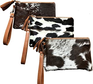 Real Cowhide Handbag Wristlet Clutch Purse Wallet Black Brown Leather Lined Double Sided 8.5