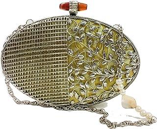 Trend Overseas Silver color women Bridal Handmade metal Handbag purse Hand clutch