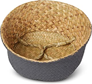 Natural Seagrass Basket - Home/Kitchen/Storage/Laundry/Organizer/Beach/Decor/Baskets - Medium Woven Plantbasket - Toy Cover - Beach Bag - Toy Storage - Laundry Basket - Picnic Tote - Handle Basket