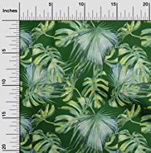 oneOone Cotton Jersey Green Fabric Neem Leaves Craft Projects Decor Fabric Printed by The Yard 58 Inch Wide