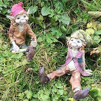 Pixie elfo fata /& COPPIA da appendere Swing SCULTURA MAGICO Mistero Da Giardino Statuetta