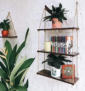 Asliny - Hanging Shelf Wall - Floating Swing Storage Shelves Jute Rope Organizer Rack, 3 Tier Handmade Shelves (Brown)