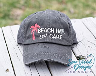 5a0673aecf8095 Beach Hair don't Care with Palm Tree High Ponytail Baseball or Trucker Hat