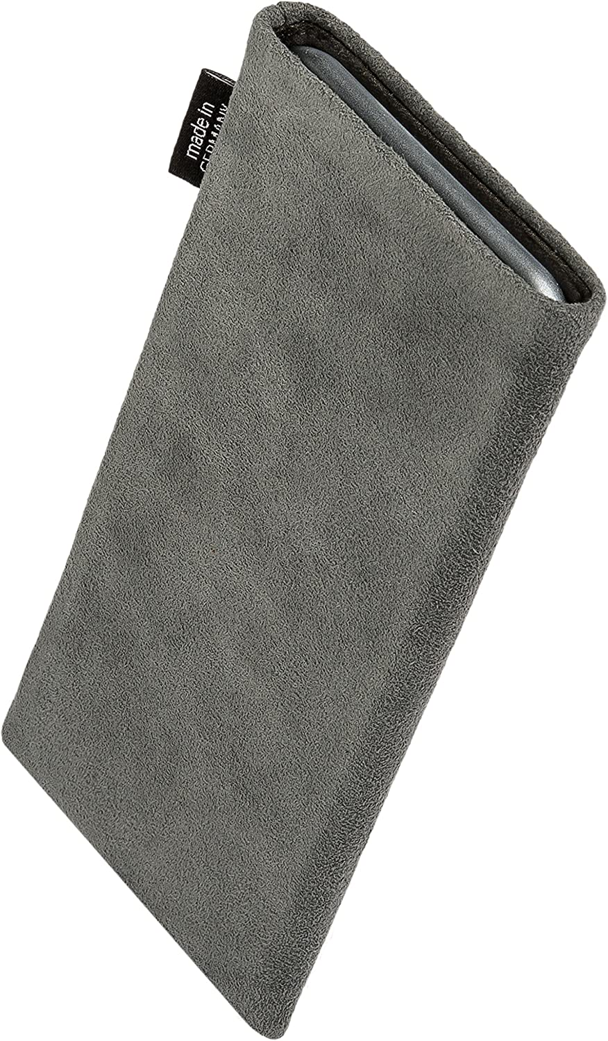 Made in Germany Genuine Alcantara pouch case cover with MicroFibre lining for display cleaning fitBAG Classic Gray custom tailored sleeve for Apple iPhone 12 Pro Max