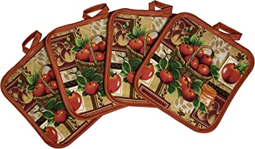 Set of Four Pot Holders for Kitchen Six Different Designs (Apples)