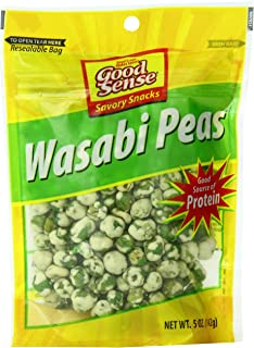 Good Sense | Savory Snacks | Wasabi Peas - 60 Ounces (60 OZ) | 12 - 5 Ounce (5 OZ) Bag