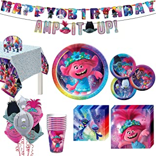 Party City Trolls World Tour 67 Piece Birthday Party Supplies for 8 Guests, Poppy Branch Plates, Napkins, Cups, Decoration...