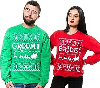 Silk Road Tees Groom Bride Christmas Sweaters Engagement Ugly Sweatshirts Green Red Fleece