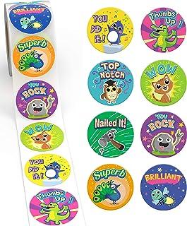 Nagroda naklejki dla dzieci od Sweetzer & Orange - 1000 naklejek, 8 różnych wzorów, naklejki szkolne 3,5 cm - materiały dl...