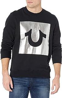 True Religion Men's Horseshoe Foil Box Logo Long Sleeve Crew Neck Sweatshirt