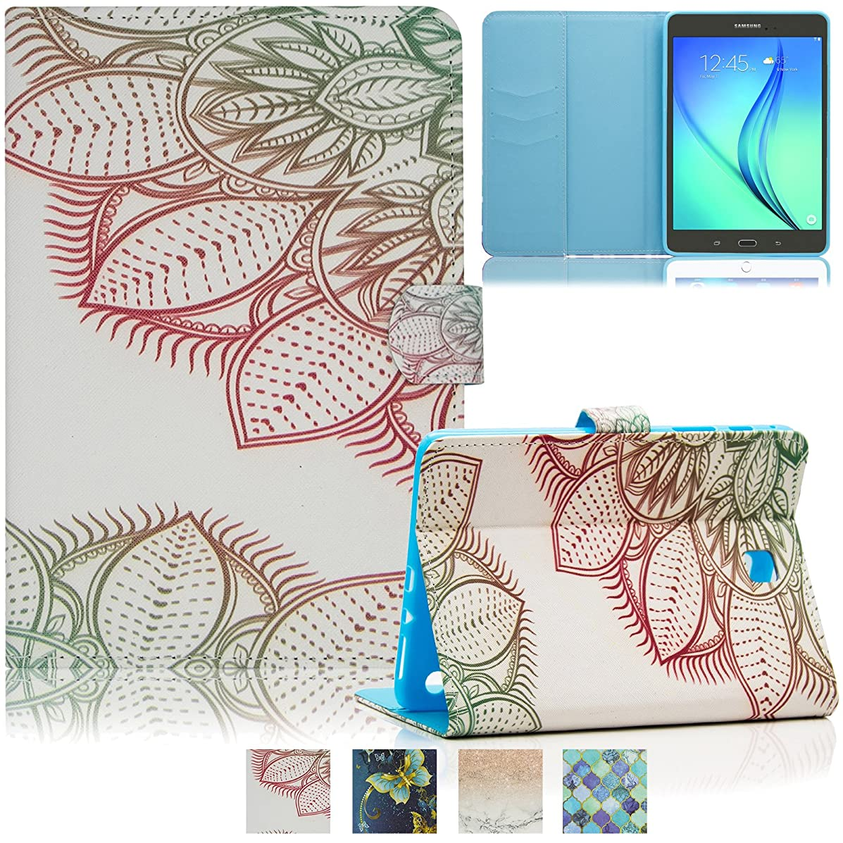 Galaxy Tab A 8.0 Tablet Case 2015 Model (SM-T350/T355), Smart Folio Stand Synthetic Leather Wallet TPU Cover with Pocket Card Holder [Auto Wake/Sleep] for Samsung Tab A 8.0 2015, Ink Painting Flower