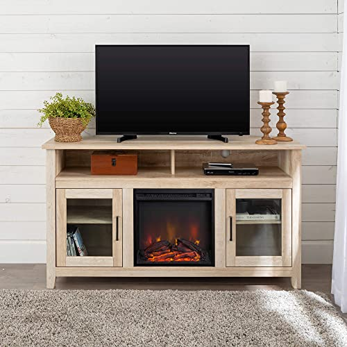 "Walker Edison Furniture Company Rustic Wood and Glass Tall Fireplace Stand for TV's up to 64"" Flat Screen Living Room Storage Cabinet Doors and Shelves Entertainment Center, 32 Inches, White Oak"