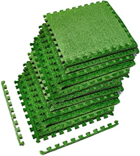 Sorbus Grass Mat Interlocking Grass Tiles – Soft Artificial Carpet Grass Turf – Multipurpose Fake Grass Flooring – for Deck, Patio, Playrooms, Borders Included (12 Tiles, 48 Sq ft)