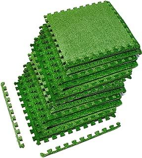 Sorbus Grass Mat Interlocking Grass Tiles – Soft Artificial Carpet Grass Turf – Multipurpose Fake Grass Flooring – for Deck, Patio, Playrooms, Borders Included (12 Tiles,48 Sq ft)