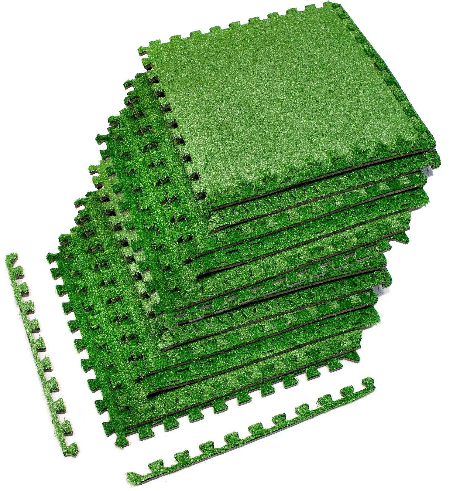 Sorbus Grass Mat Interlocking Grass Tiles – Soft Artificial Carpet ...