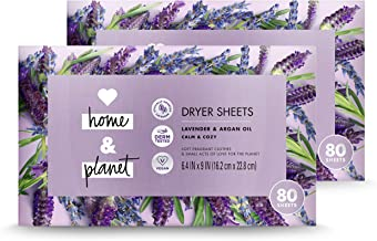 Love Home and Planet Dryer Sheets Lavender & Argan Oil, 80 Count, Pack of 2