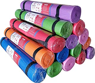 AweXs 12 Yoga Mats In Bulk For Kids PE Gymnastics Adults Non Slip - Exercise Stretching Fitness 12 Pack Piece Set + Multi ...